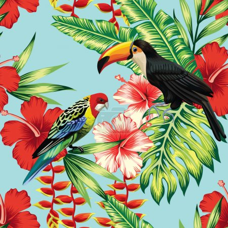 Illustration for Tropic bird toucan and multicolor parrot on the background exotic flower hibiscus and palm leaf. Print summer floral plant. Nature animals wallpaper. Seamless vector pattern - Royalty Free Image