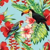 Tropic bird toucan and multicolor parrot on the background exotic flower hibiscus and palm leaf Print summer floral plant Nature animals wallpaper Seamless vector pattern