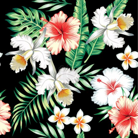 Illustration for Tropical floral vector pattern - Royalty Free Image