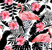 flamingo and hibiscus watercolor pattern parrots and tropical plants silhouette background