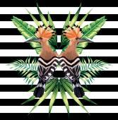 Tropických ptáků zrcadlo pozadí