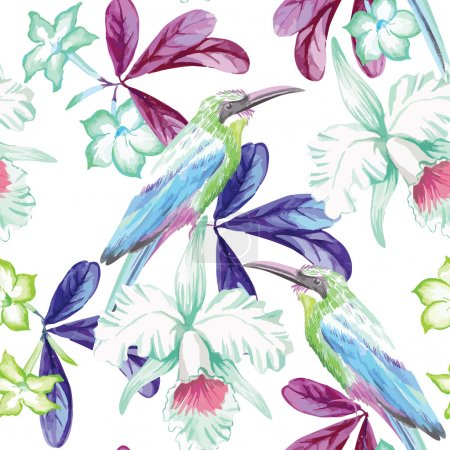 birds, orchids and oleander watercolor seamless background