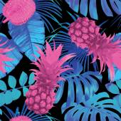 tropical fruits and palm leaves seamless background