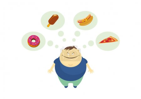 Fat guy thinks about food vector