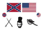 Civil War USA icon set vector