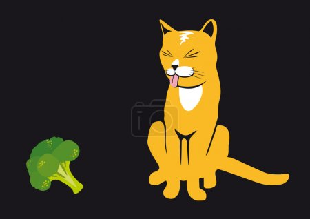 Illustration for Cats do not like broccoli. Broccoli is poison for cats! Funny vector illustration. Black background with cat. Rusty cat on a black background. Cat with tongue out. - Royalty Free Image