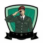 Illustration of Soldier Saluting Vector Image