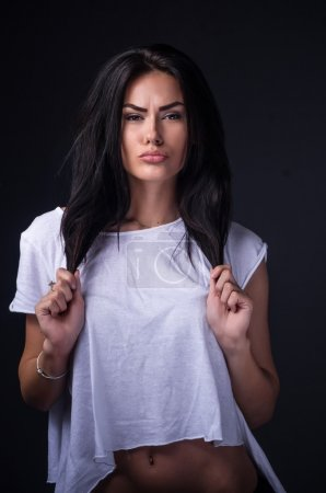 Beautiful girl in white t-shirt