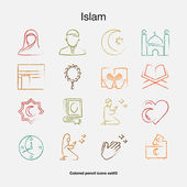 Islamic colored icons in the style pencil drawing