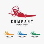Stylish logo with airplane