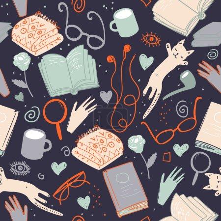 Photo pour Modèle de livres vectoriels. Texture de littérature transparente colorée, illustrations mignonnes détaillées. Modèle avec des livres dessinés à la main et des lunettes. Contexte pour une utilisation dans la conception, site Web, emballage, textile, tissu - image libre de droit