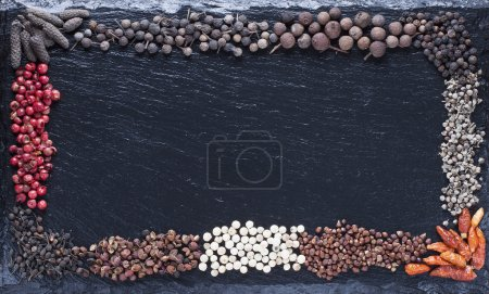 Assorted all kinds of dry pepper on a background