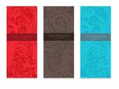 Premium royal vintage victorian set of three templates colorful floral classic backgrounds vector elegant design for restaurant menu book cover invitation brochure wall paper backdrops