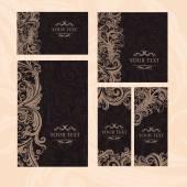 Premium royal vintage victorian set of templates dark brown floral classic background