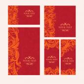 Premium royal vintage victorian set of templates red floral classic background