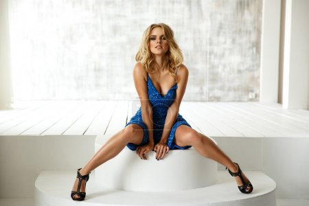 Sexy, sensual and seductive woman in the blue even...