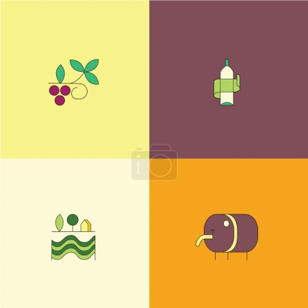 Line style wine icon collection