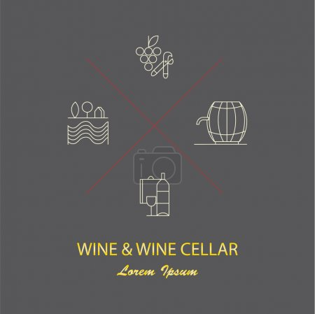 Set of design elements for wineries, logotypes