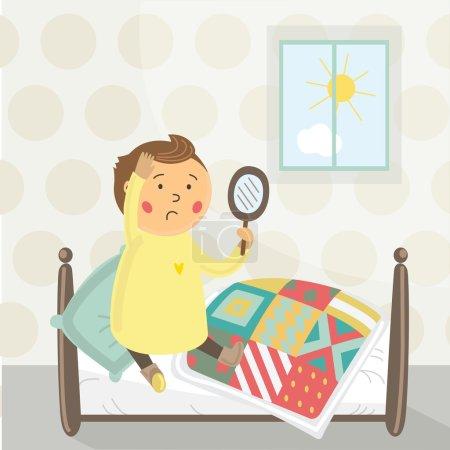 Illustration pour Le petit garçon est assis dans le lit et regarder dans le miroir - image libre de droit