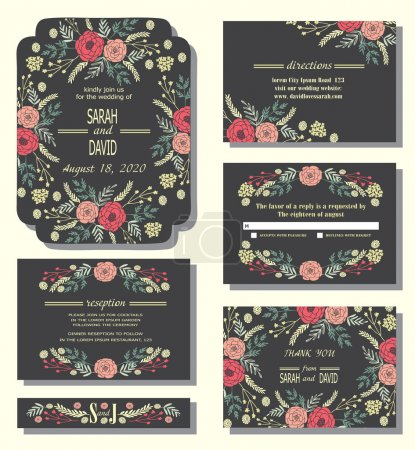 Illustration for Vector set of invitation cards with floral wreath and elegant background. Vintage cards or wedding invitations. Wedding collection - Royalty Free Image