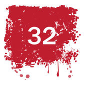 Grunge red background with number 32   Vector Illustration