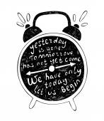 Typography poster with alarm clock