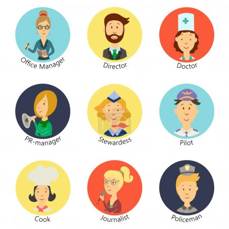 Set of diverse people professions icons