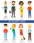 Set of diverse business people isolated on white background Different nationalities and dress styles Cute and simple flat cartoon style People characters Office team Vector
