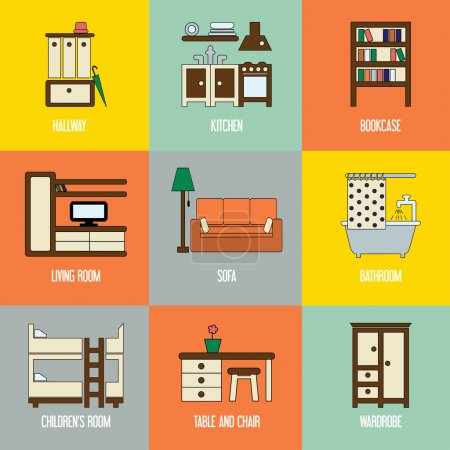 Set of interior design icons