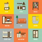 Set of lovely and colorful vector interior design room types icons in trendy flat design