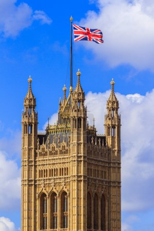 Union flag on the Victoria tower palace of Westminster