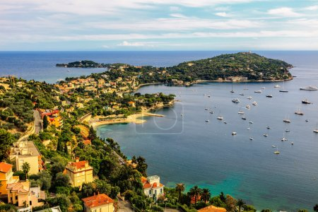 Photo for View of Mediterranean luxury resort and bay with yachts. Nice, Cote d'Azur, France. French Riviera - turquoise sea and perfect - Royalty Free Image