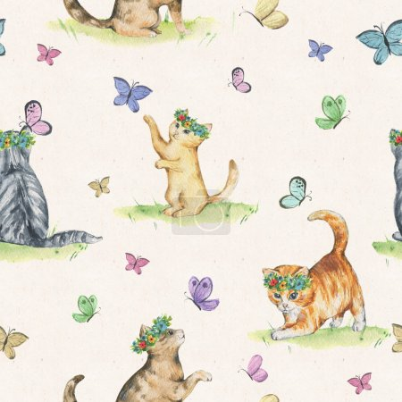 Seamless watercolor pattern with cute little kittens in floral wreaths playing with butterflies. Hand drawn animalistic pattern. Spring/summer mood