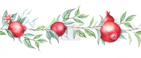 Hand drawn seamless border watercolor botanical illustration of pomegranate branch with green leaves isolated on white.