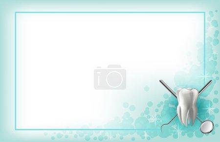 Illustration pour Brossez-vous les dents prothèses, modèle dentaire de la mâchoire, miroirs et instruments dentaires dans le cabinet du dentiste. bannière arrière-plan - image libre de droit