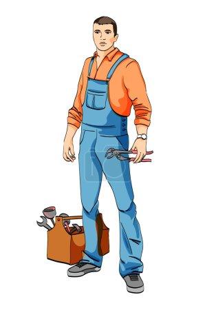 Illustration pour L'homme en uniforme de plombier, mécanicien, serrurier - image libre de droit