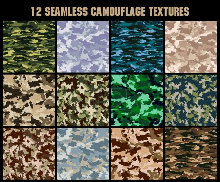 Illustration for Set of original camouflage  patterns. Seamless backgrounds - Royalty Free Image