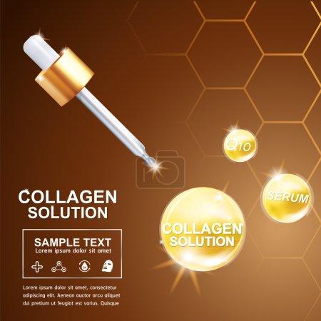 Illustration pour Il s'agit de collagène sérum et vitamine soins de la peau vecteur cosmétique .eps10 - image libre de droit