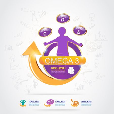 Omega 3 Calcium and Vitamin for Kids Vector Logo Concept