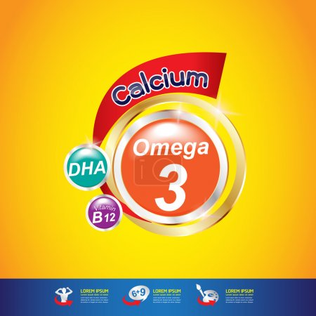 Kids Omega Calcium and Vitamins. Vector.  Concept...