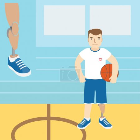 A man with a prosthetic leg, holding a basketball.Vector illustr