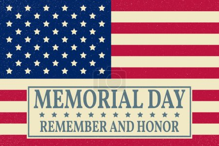 Illustration for Happy Memorial Day background template. Happy Memorial Day poster. Remember and honor on top of American flag. Patriotic banner. Vector illustration. - Royalty Free Image