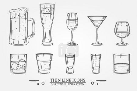 Illustration pour Set boisson verre d'alcool pour la bière, whisky, vin, tequila, cognac, champagne, brandy, cocktails, liqueur. Illustration vectorielle isolée sur fond blanc . - image libre de droit