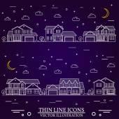 Neighborhood with homes illustrated on purple background
