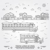 Neighborhood with homes and school buses illustrated on white