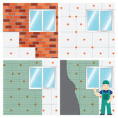 How to Insulate a Wall Set Vector