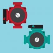 Heating Circulating Pump Vector illustration Flat icons
