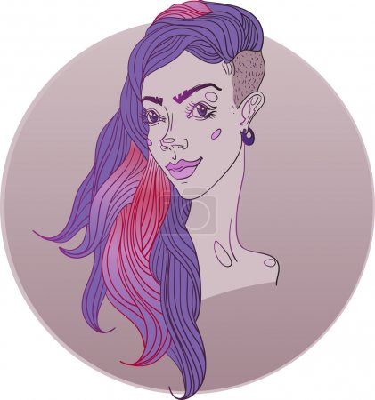Illustration for Vector illustration. Young girl with trendy hairstyle. - Royalty Free Image