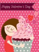 Happy Valentines day card Cartoon girl holding nice sweet cupcake Eps 10 Divided on layers Easy editable