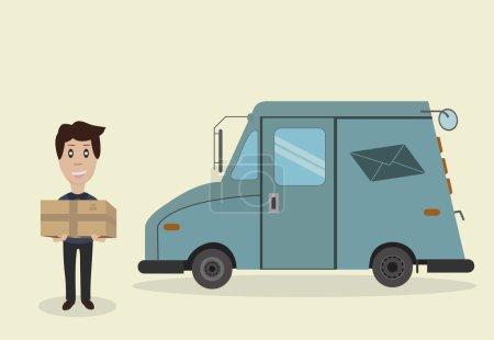 Postman, parcel, truck